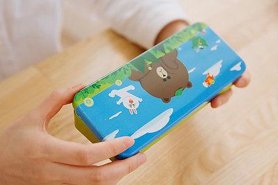 Naver LINE Friends Character Classic Metal Pencil Case Desktop Teens Kids Gifts