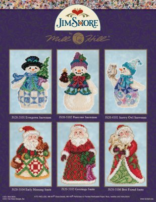 Evergreen Snowman 2015 Winter Series cross stitch kit Jim Shore Mill Hill