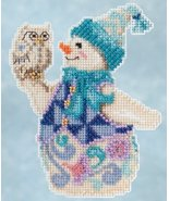 Snowy Owl Snowman 2015 Winter Series cross stitch kit Jim Shore Mill Hill - $7.65