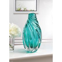 Ocean Aquamarine Spiral Art Glass Vase Tabletop Centerpiece  - $68.95