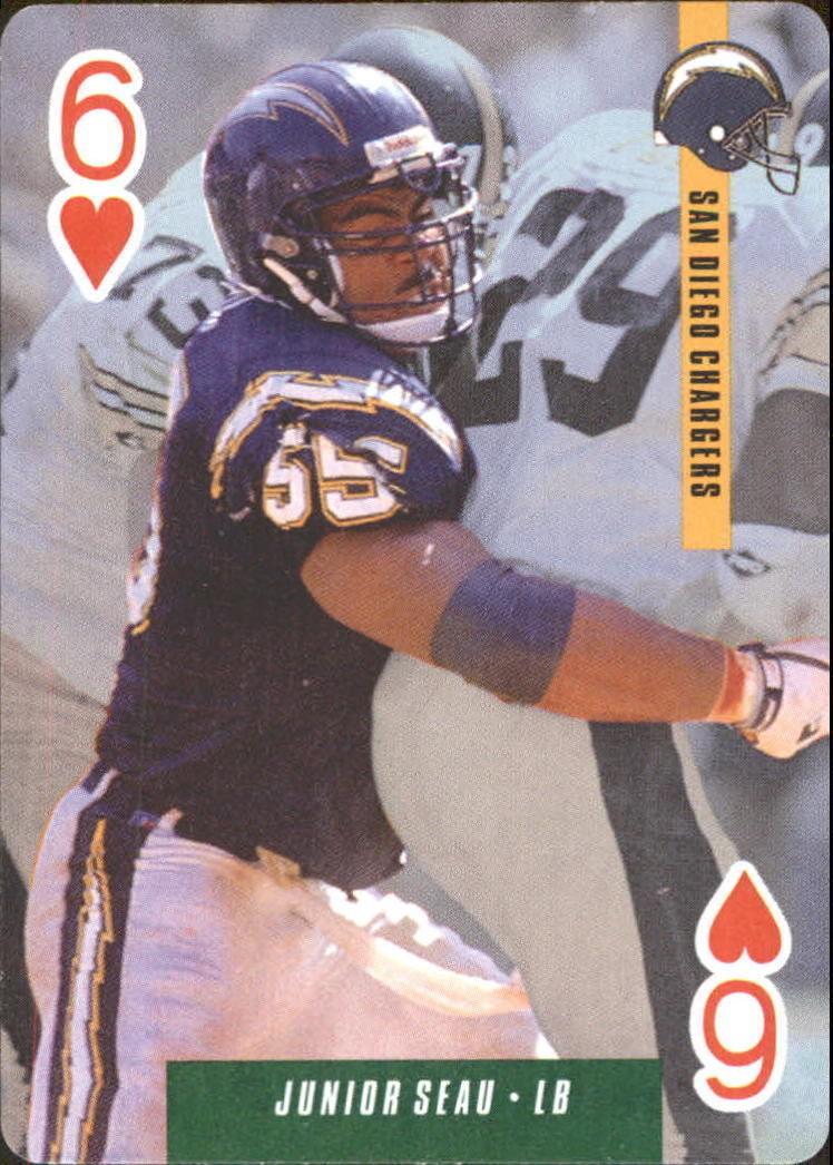 1993 U.S. Playing Cards Ditka's Picks #6H Junior Seau -San Diego Chargers-HOF-