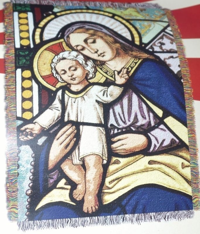 Mary and Jesus Mother and Son Woven Tapestry Throw Religious 46 x 60 NEW - $19.99