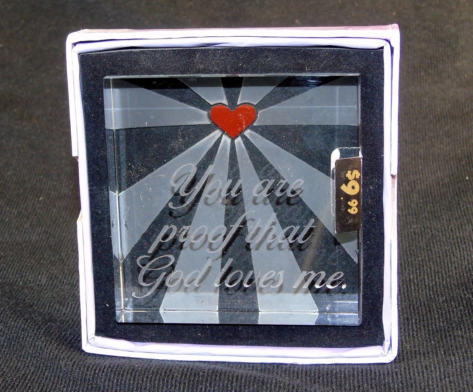 Glass Block Paperweight ~ Etched Novelty Design w/Inspirational Quote ~ Style A