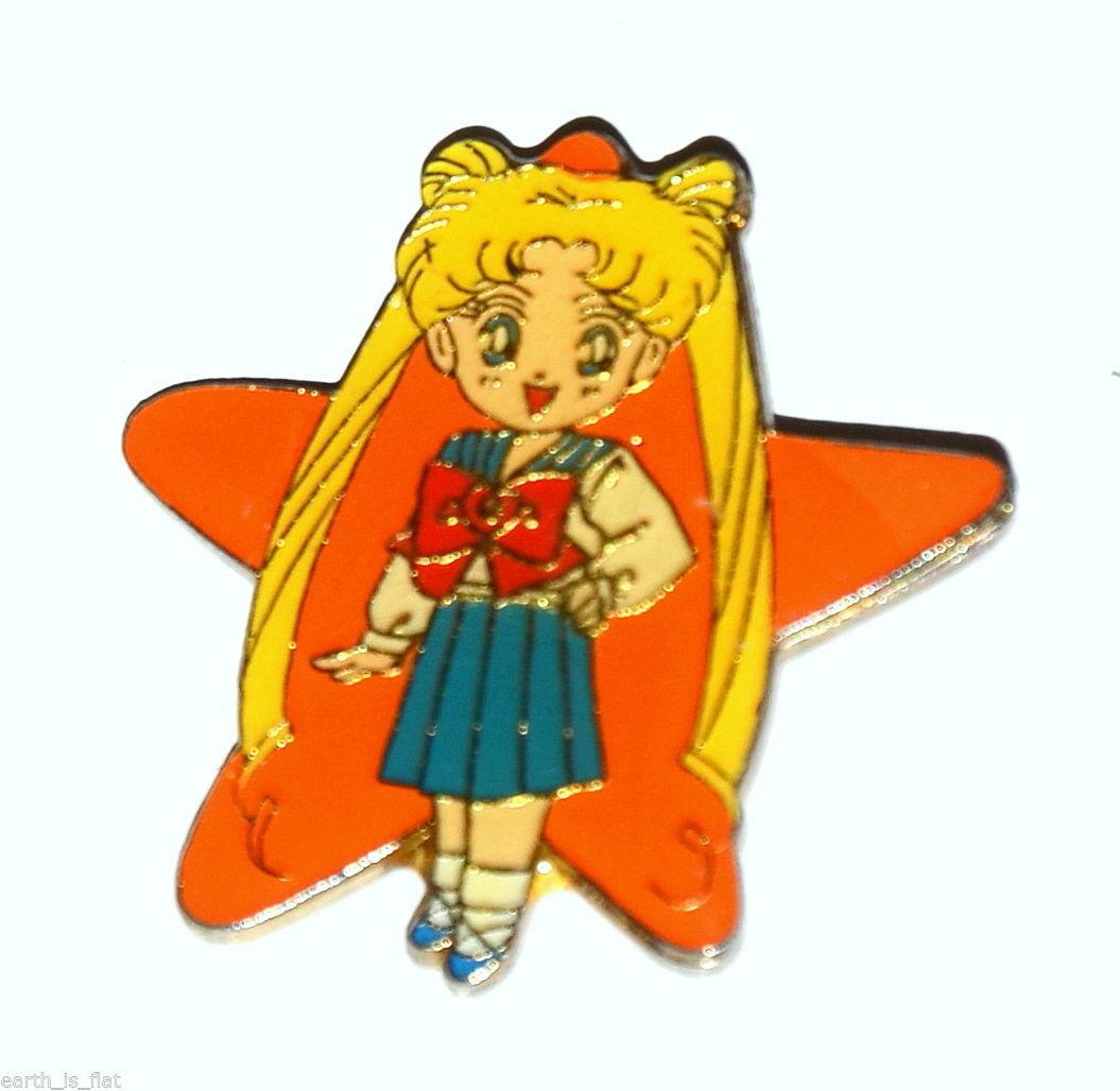 Sailor Moon vintage metal enamel star pin Usagi Serena Bunny T.K.TA.T schoolgirl