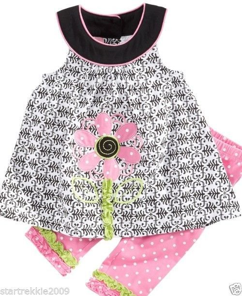 Baby Headquarters Baby Girls' 2-Piece Flower Tunic & Polka-Dot 12 Months. NWT