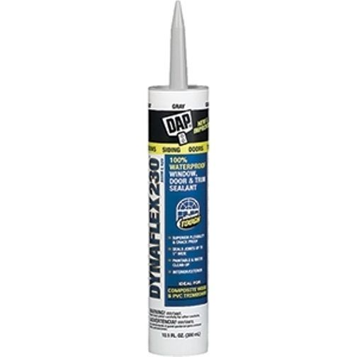 DAP. DYNAFLEX 230 ELASTOMERIC LATEX SEALANT 10.3OZ GRAY.Indoor/Outdoor Sealant.