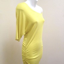 INC S Dress Tunic Yellow Ruched Bodycon Wide Neck Off Shoulder Dolman Sl... - $23.49