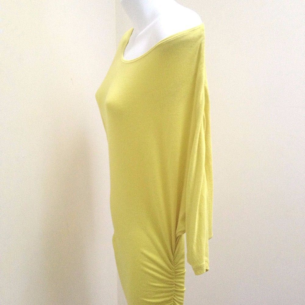 INC S Dress Tunic Yellow Ruched Bodycon Wide Neck Off Shoulder Dolman Sleeves