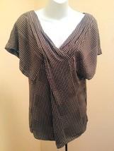 Calvin Klein XS Top Brown Silk Stretch Polka Dot Pleated Flutter Sleeve Shirt - $19.58