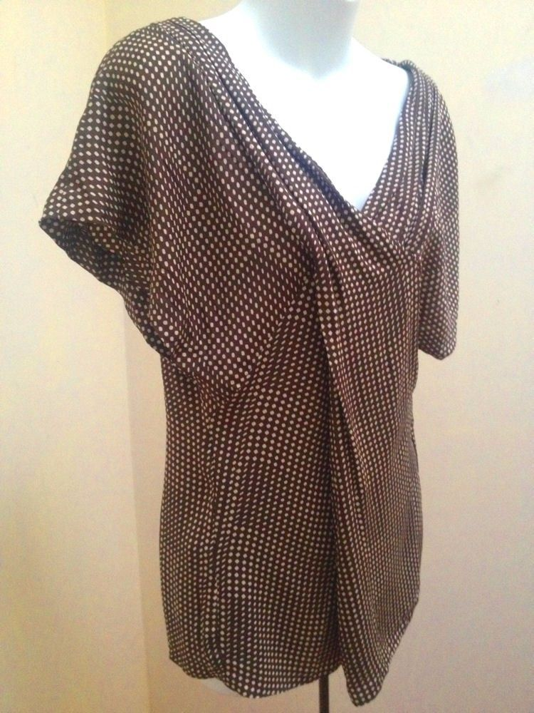 Calvin Klein XS Top Brown Silk Stretch Polka Dot Pleated Flutter Sleeve Shirt