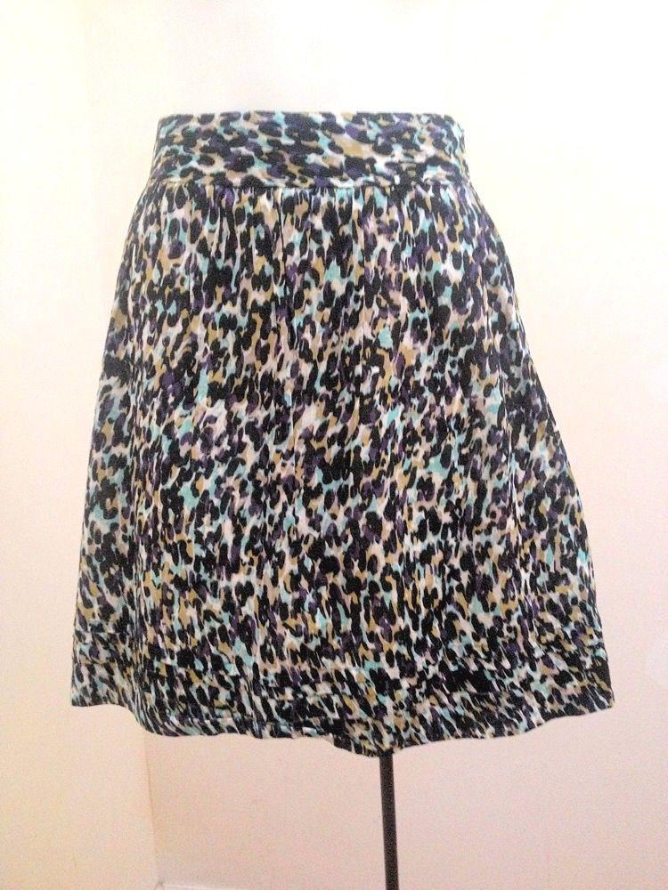 Ann Taylor Loft 6 Skirt Purple Aqua Geometric Animal Print A Line Tiered Hem