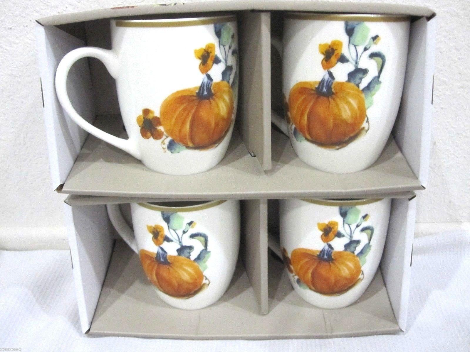 CIROA Thanksgiving Orange Pumpkin Coffe Cups Set of 4