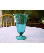Jeannette Glass PETAL SWIRL ULTRAMARINE FOOTED VASE - $14.85
