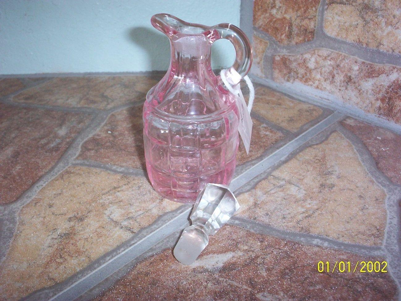 Mosser Glass Pink Block Pattern Cruet