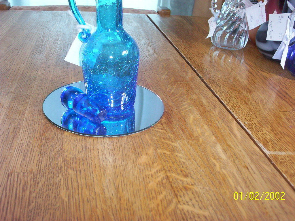 Rainbo Glass Blue Crackle Glass Cruet