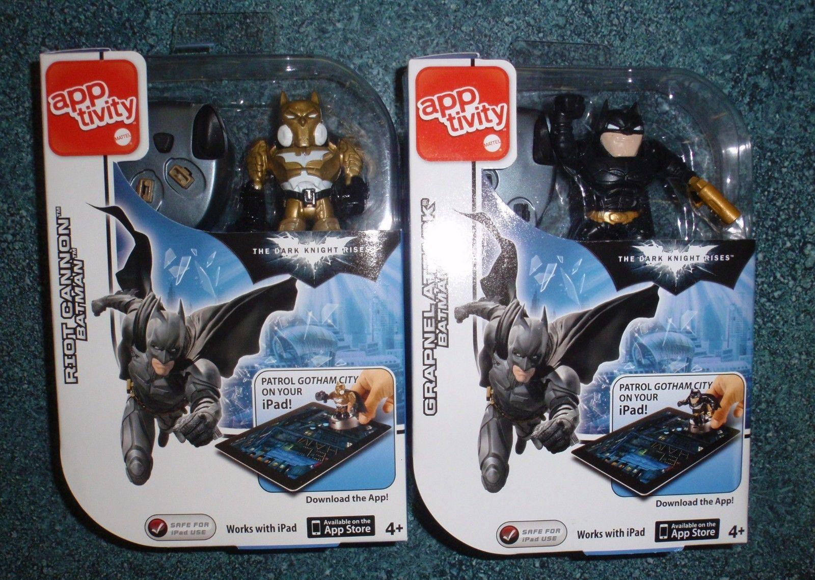 (2) BATMAN APPTIVITY APP Game - Grapnel Attack + Riot Cannon - DARK KNIGHT RISES