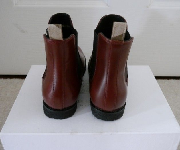 NIB 100% AUTH Burberry Kids' Leather Ankle Boot chestnut Sz 31