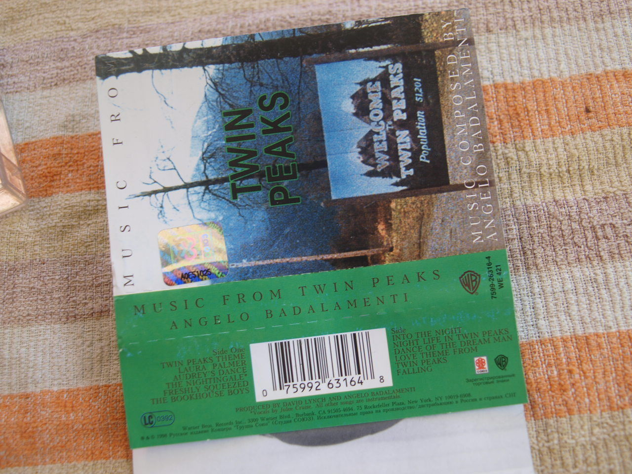 ANGELO BADALAMENTI MUSIC FROM TWIN PEAKS RUSSIAN CASSETTE  MADE IN RUSSIA