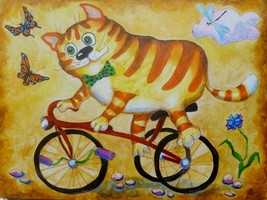 "Akimova: CAT, fantasy, animal, acrylic, 18""x24"" - $50.00"