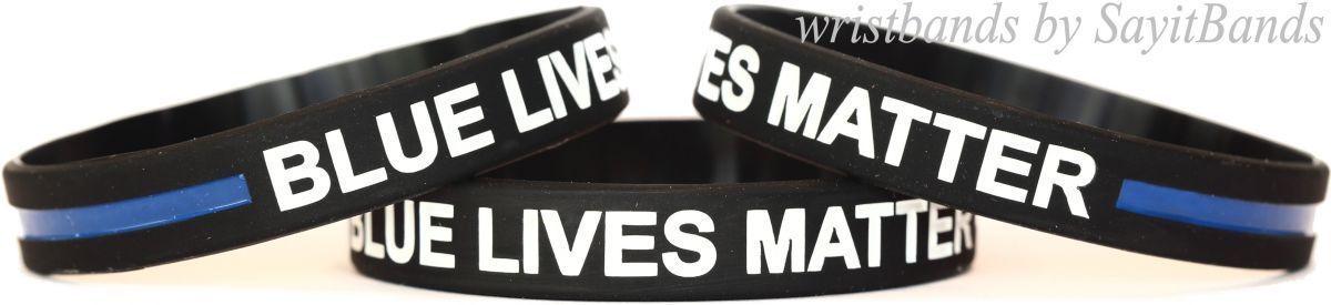 100 Blue Lives Matter Wristband Bracelets for Police Officers Patrol Support New