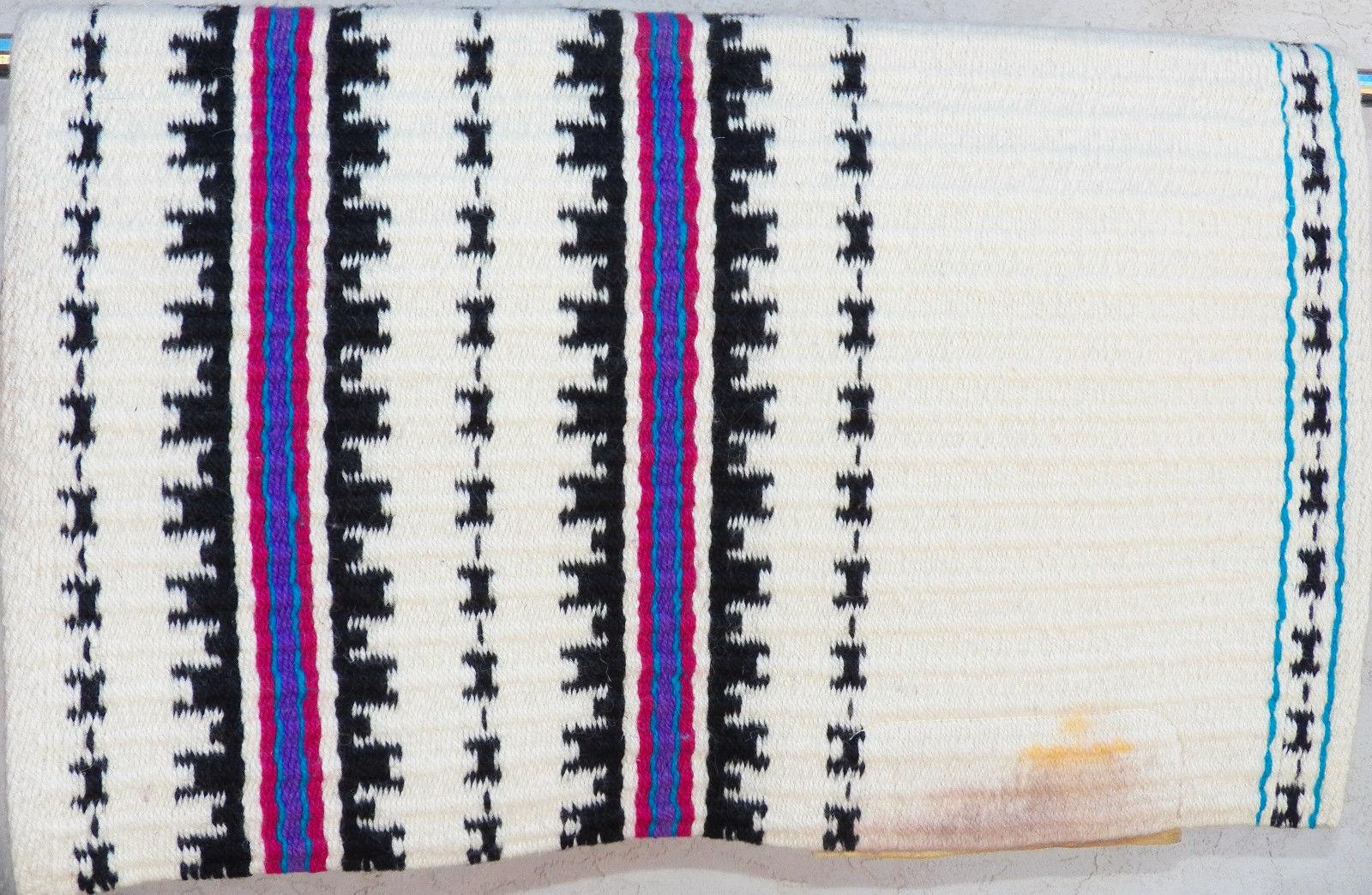 Golden West Lori Heckaman Black Cream Purple Turquoise Saddle Blanket Pad 32x38