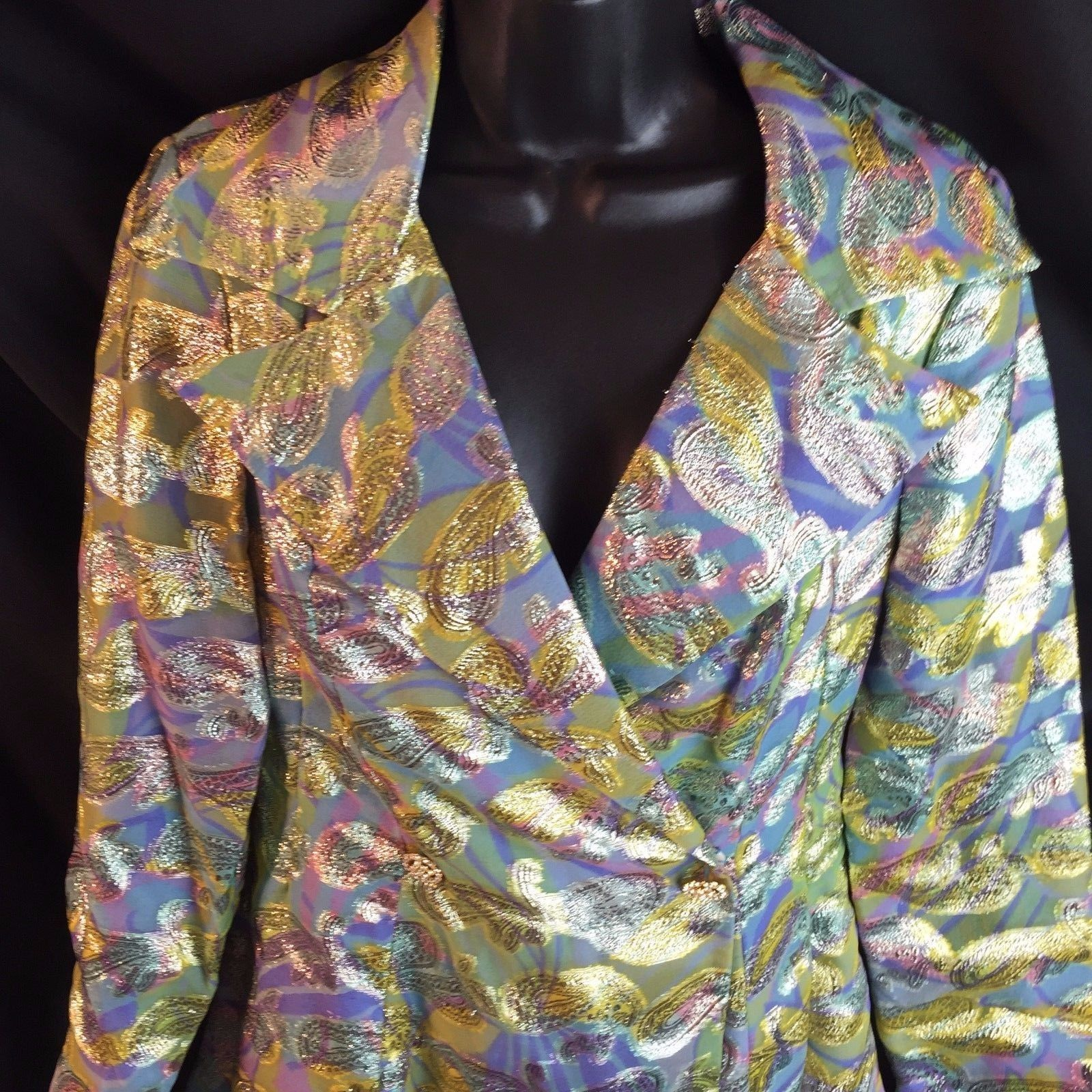 Vtg Paisley Pantsuit Wide Collar Jacket Rhinestone Buttons Bell Bottom Pants S
