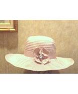 Cynthia Rowley Wide Brim Ribbon Summer Shapeable Sun Hat w/Embellished B... - $10.50