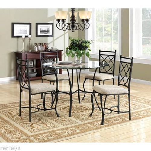 5 Piece Kitchen Dining Set Metal Glass Breakfast Furniture 4 Chairs and Table