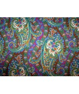 BRIGHT MULTICOLORED PAISLEY COTTON LYCRA SATEEN TWILL FABRIC BY THE YARD - $27.99