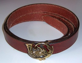 Polo Ralph Lauren Leather Belt w Fox And Bugle Buckle Size 36 VINTAGE RARE - $299.94