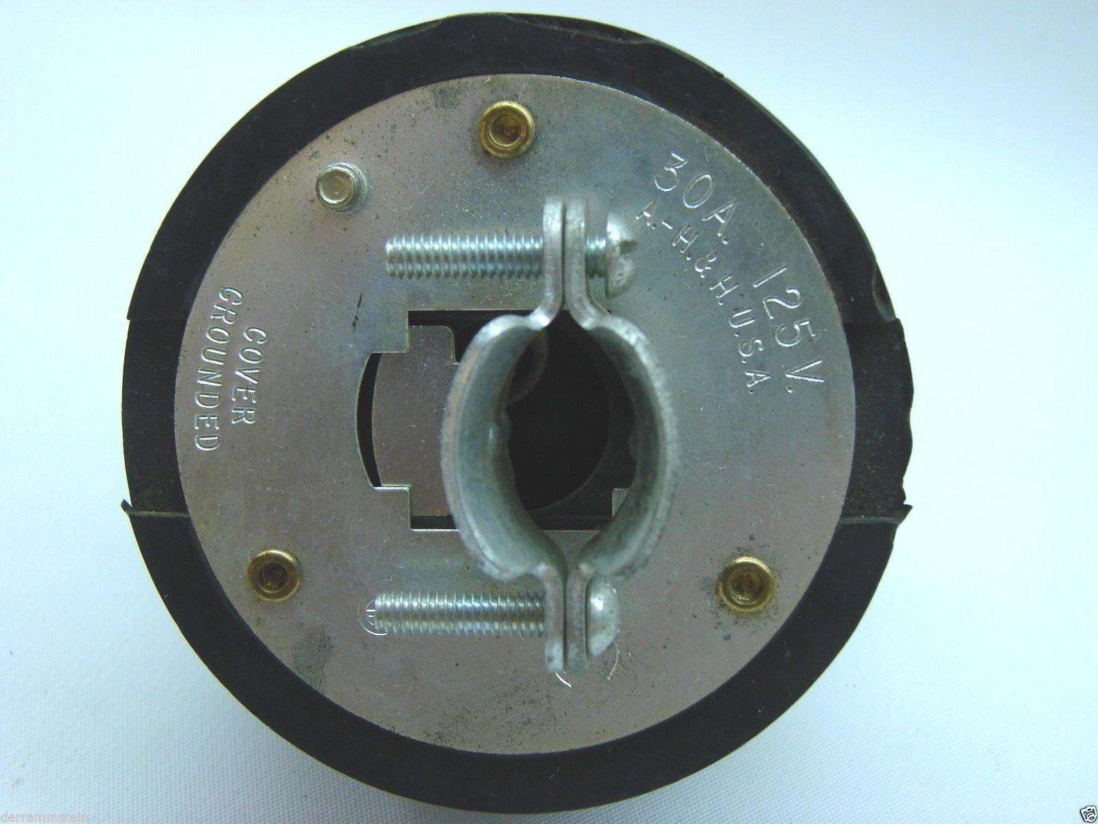 Hubbell Vintage 2 Pole 3 Wire 125 Volt 30 Amp AC Plug t8