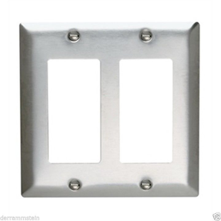 PASS & SEYMOUR SS262  2 GANG DECORATOR WALL PLATE STAINLESS STEEL SEALED NEW! f3