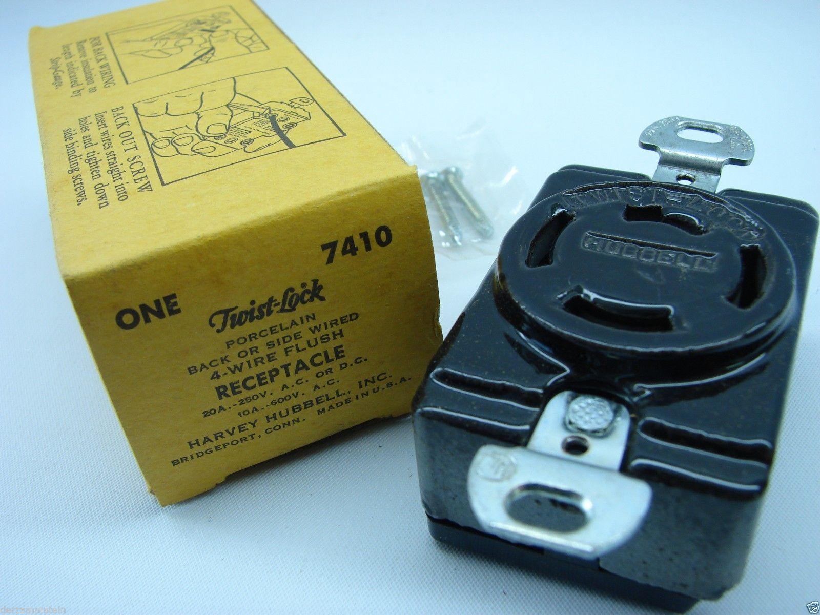 Hubbell 7410 Twist-Lock 4-Wire Vintage  Porcelain Outlet 250/600V 20/10A  t1/b8