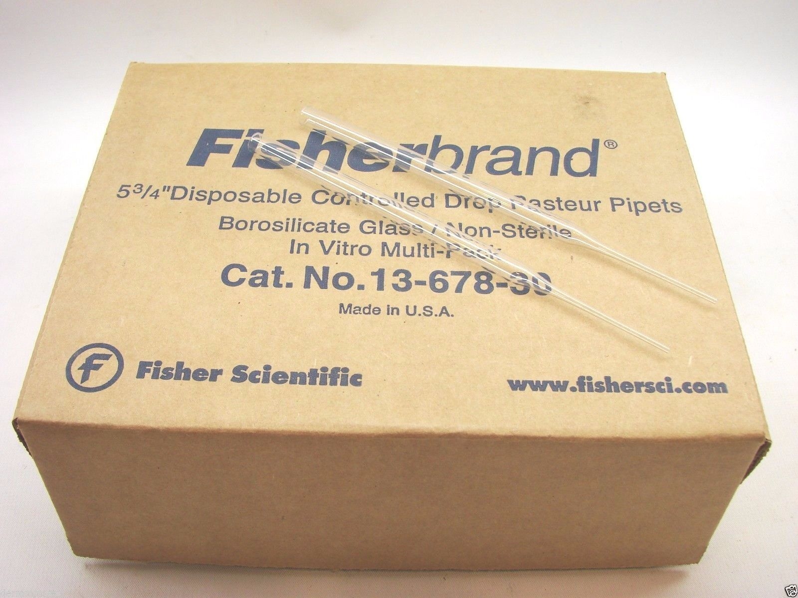 """250 Fisherbrand Disposable Controlled Drop Pasteur Pipets 5-3/4"""" 13-678-30 fb1"""