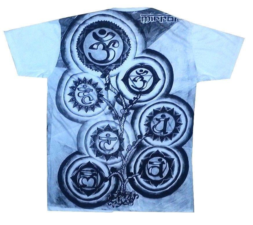 Yoga Men T Shirt short sleeve Buddha Meditation om HIPPIE M MIRROR  cotton white