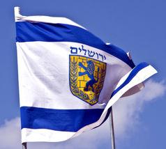 "Jerusalem Coat Of Arms Flag Large Israel Print Lion City Symbol 39X59"" 1X1.5m image 2"