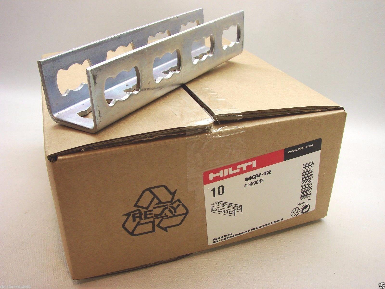 New Hilti MQV-12 Strut Connector Box Of 10 Electro Galvanized 4mm Thick UniStrut