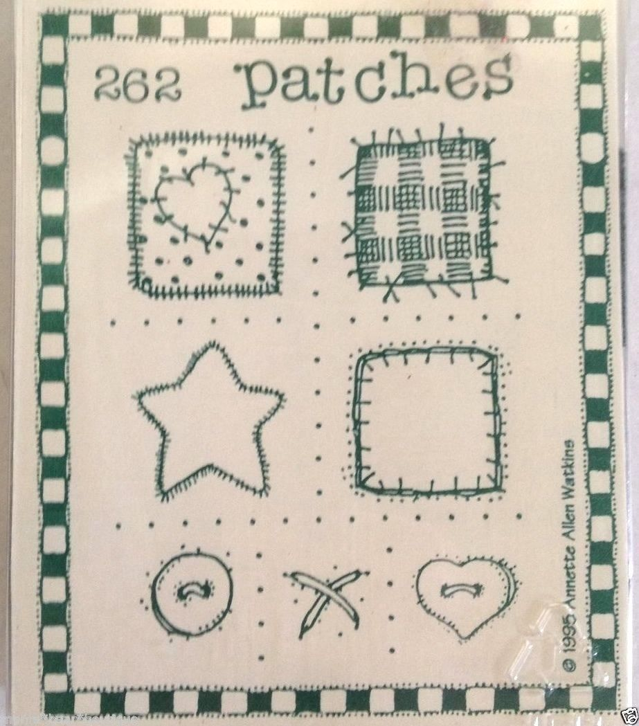 Printworks Rubber Art Stamps Set Patches #262 Heart Star Button Stitches 1995