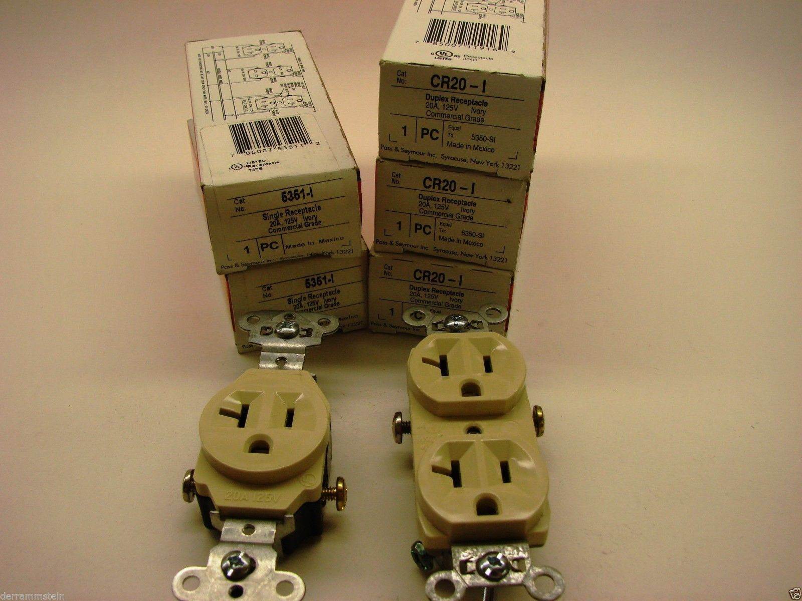 Lot Of (5) Pass & Seymour Ivory Receptacles (3)CR20-I Duplex-(2)5351-I Single f1