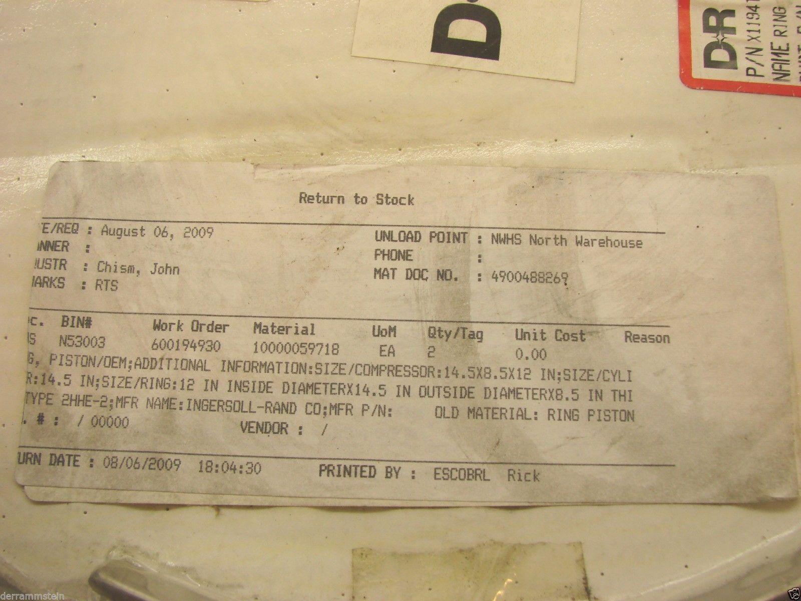 New (2) Dresser Rand X1194T 14.5 X  75CL  Piston Ring OEM Ring #1 & #2  b79