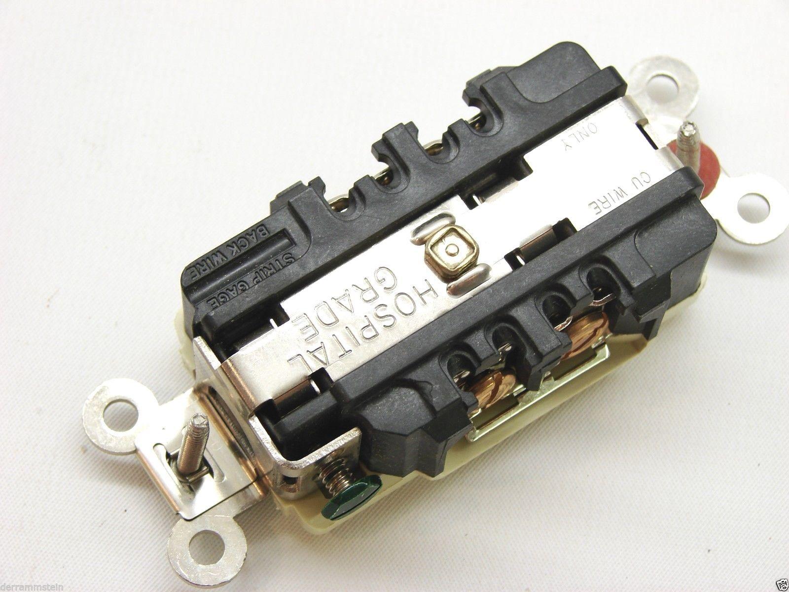 Box Of 10 New Hubbell 8600I Hospital Grade 250V 15A Duplex Receptacle Ivory b100