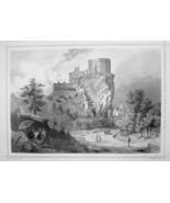SLOVAKIA Beckov Castle - 1870s Original Engraving Print - $30.22