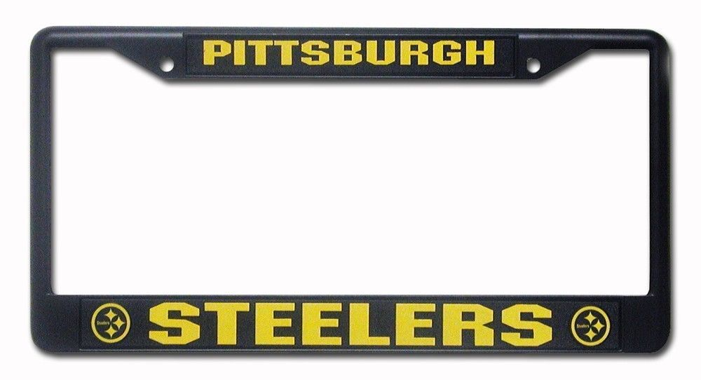PITTSBURGH STEELERS CAR AUTO BLACK METAL LICENSE PLATE TAG FRAME NFL FOOTBALL