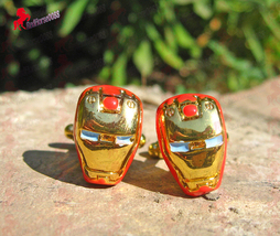 Iron Man Gold Finish Cufflinks – Wedding, Father's Day, Graduation, Birthday Gif - $3.95