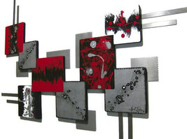 """LARGE Abstract Art, Wood Wall decor, Wall Sculpture with Metal """"Graffiti Square"""" - $375.00"""