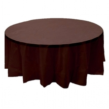 "2 Plastic Round Tablecloths 84"" Diameter Table Cover - Brown - £5.26 GBP"