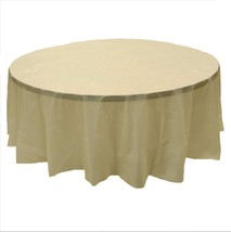 """2 BEIGE Plastic round tablecloths 84"""" diameter table cover - $6.99"""