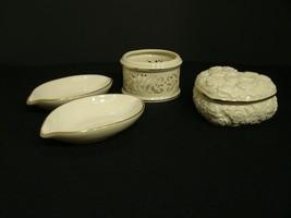 Very Nice 4 Pc Mixed Lot of Lenox Pieces Heart Trinket Box Tea Light Hol... - $28.22