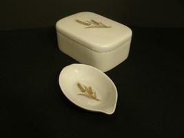 VTG Lot of 2 LENOX Powder Blue w Gold Wheat Design Trinket Box / Tea Bag... - $26.24