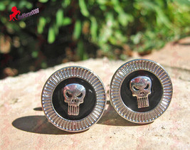 Punisher Cufflinks with Silver Finish and Black Inlay – Wedding, Father's Day, G - $3.95